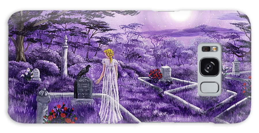 Moon Galaxy S8 Case featuring the painting Lenore In Lavender Moonlight by Laura Iverson