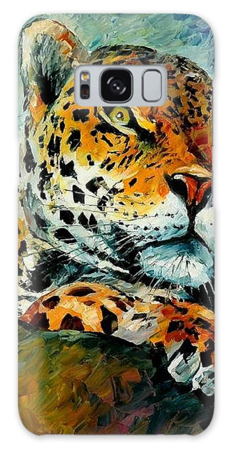 Animals Galaxy Case featuring the painting Leopard by Leonid Afremov