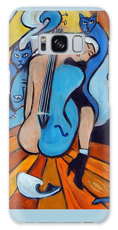 Cubic Abstract Galaxy Case featuring the painting Les Chats Bleus by Valerie Vescovi