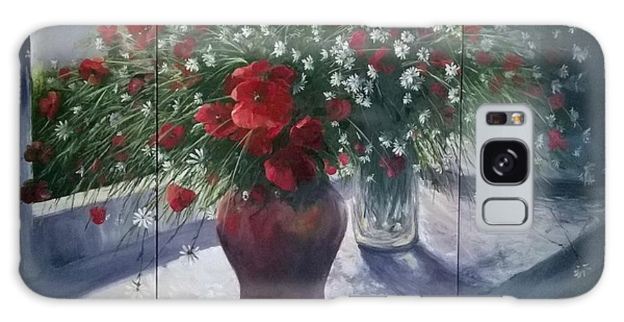Remembrance Galaxy Case featuring the painting Lest we Forget...triptych by Lizzy Forrester