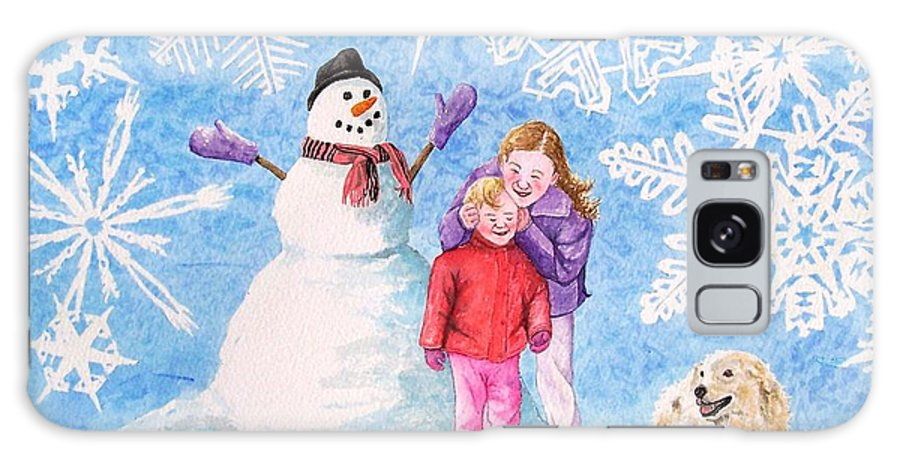 Snowman Galaxy Case featuring the painting Let It Snow by Gale Cochran-Smith