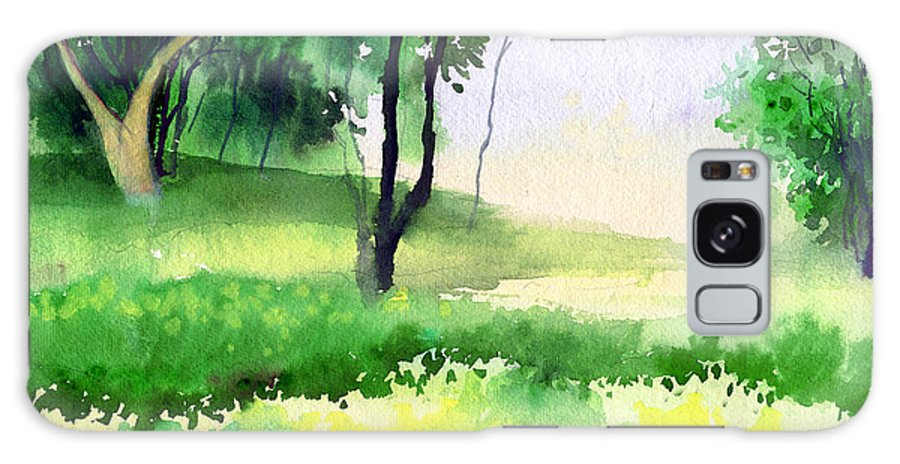 Watercolor Galaxy Case featuring the painting Let's Go For A Walk by Anil Nene