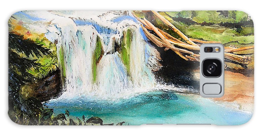 Water Galaxy Case featuring the painting Lewis River Falls by Karen Stark