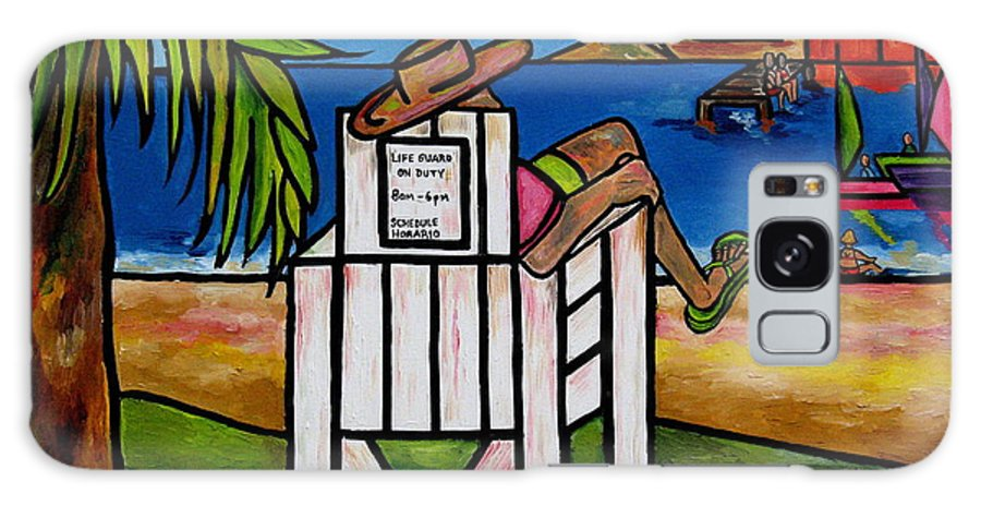 Life Guard Galaxy S8 Case featuring the painting Life Guard In Jamaica by Patti Schermerhorn
