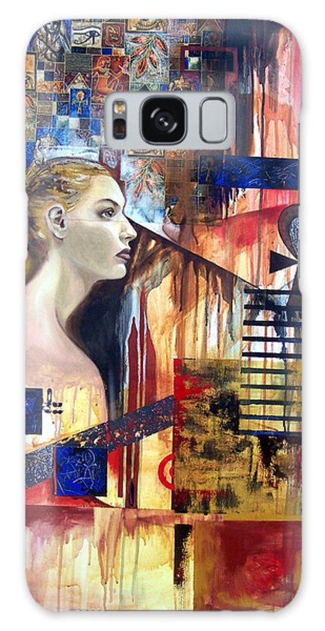 Profile Of A Woman Galaxy Case featuring the painting Life In The Past by Leyla Munteanu