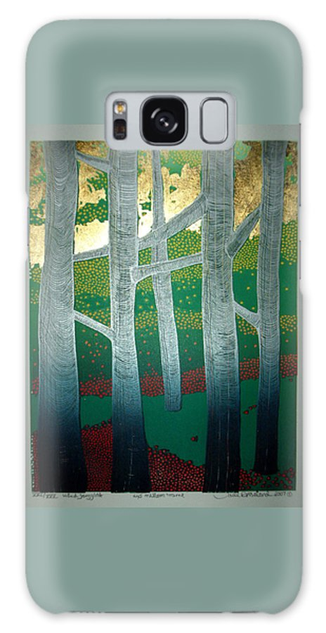 Landscape Galaxy Case featuring the mixed media Light Between The Trees by Jarle Rosseland
