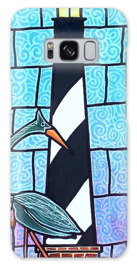 Summer Galaxy Case featuring the painting Lighthouse And Heron by Jim Harris