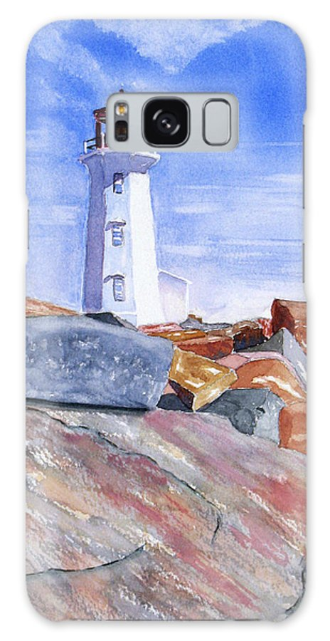 Lighthouse Galaxy Case featuring the painting Lighthouse Peggys Cove by Rich Stedman