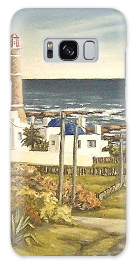 Lighthouse Seascape Sea Water Uruguay Galaxy Case featuring the painting Lighthouse Uruguay by Natalia Tejera