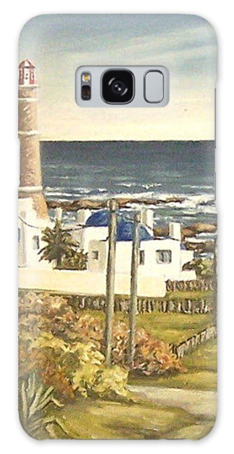 Lighthouse Seascape Sea Water Uruguay Galaxy S8 Case featuring the painting Lighthouse Uruguay by Natalia Tejera