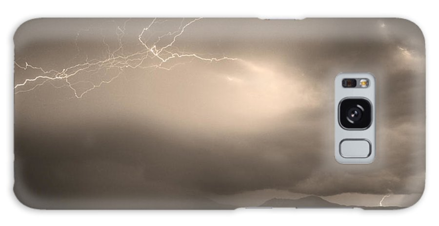 Lightning Galaxy S8 Case featuring the photograph Lightning Strikes Over Boulder Colorado Sepia by James BO Insogna