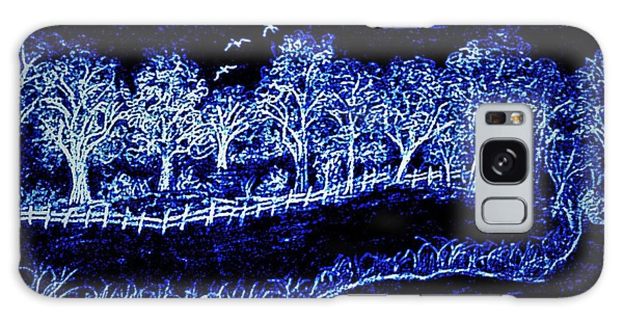 Pencil Galaxy S8 Case featuring the drawing Lights On The Farm's Pond At Night by Debra Lynch