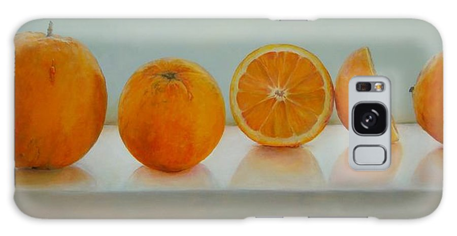 Floral Galaxy Case featuring the painting Ligne d Oranges by Muriel Dolemieux