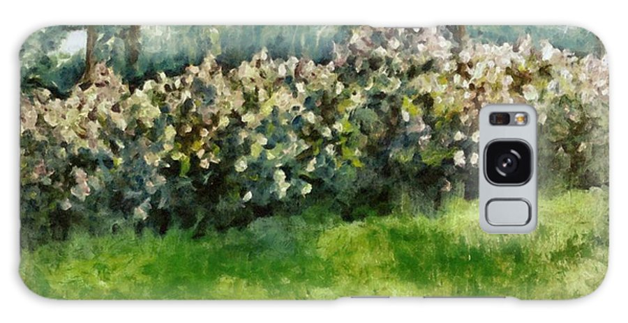 Spring Galaxy Case featuring the painting Lilac Bushes In Springtime by Michelle Calkins