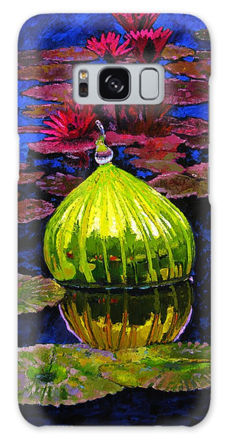 Blown Glass Galaxy Case featuring the painting Lilies And Glass Reflections by John Lautermilch