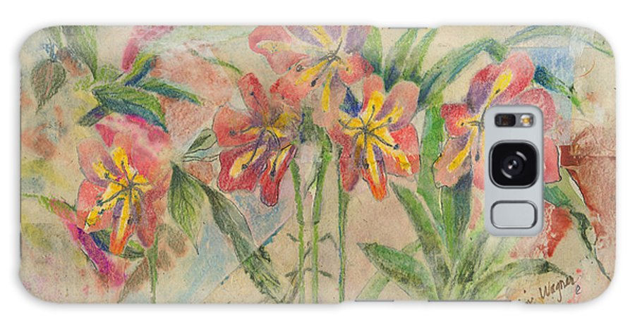 Flowers Galaxy S8 Case featuring the mixed media Lilies In Disguise by Arline Wagner