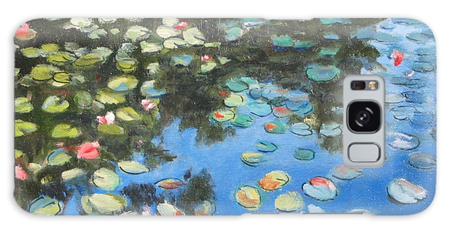 Lilie Pond Galaxy Case featuring the painting Lilies by Paul Walsh