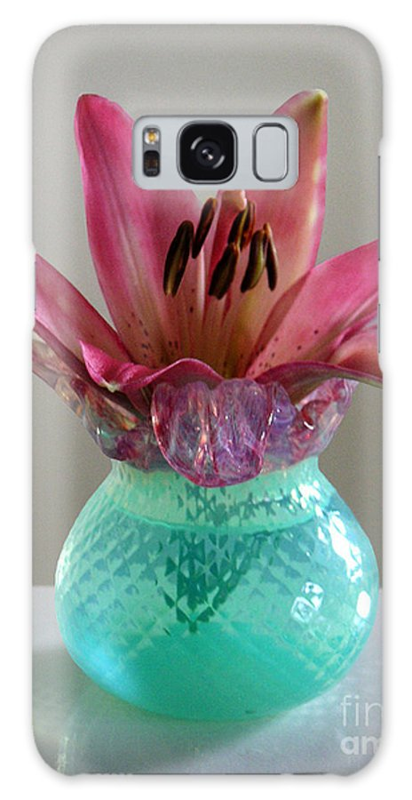 Nature Galaxy S8 Case featuring the photograph Lily In Antique Vase by Lucyna A M Green
