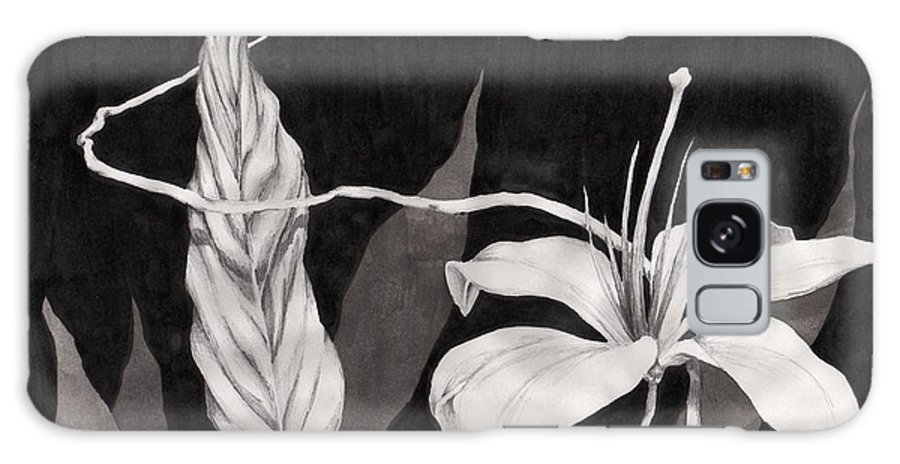 Ink Painting Galaxy S8 Case featuring the drawing Lily In The Night by Jennifer McDuffie