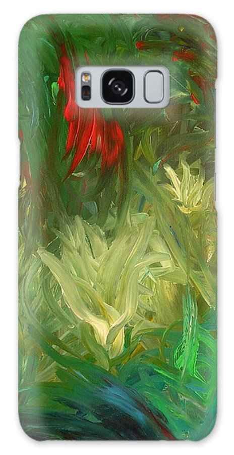 Abstract Flower Jungle Galaxy Case featuring the painting Lily by Lola Connelly