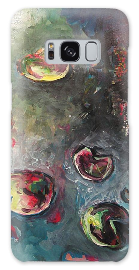 Abstract Painting Lily Pad Water Lake Blue Plant Paper Original Contemporary Canvas Galaxy Case featuring the painting Lily Pads5 by Seon-Jeong Kim
