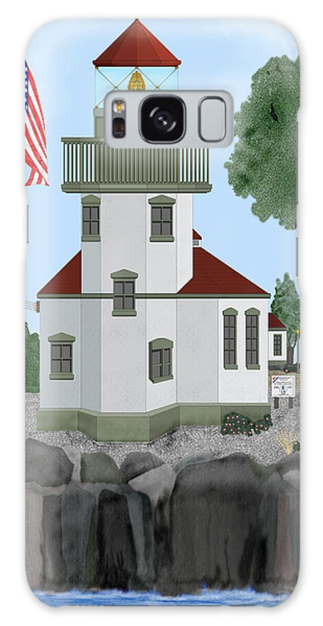 Lighthouses Galaxy S8 Case featuring the painting Lime Kiln Light On San Juan Island by Anne Norskog