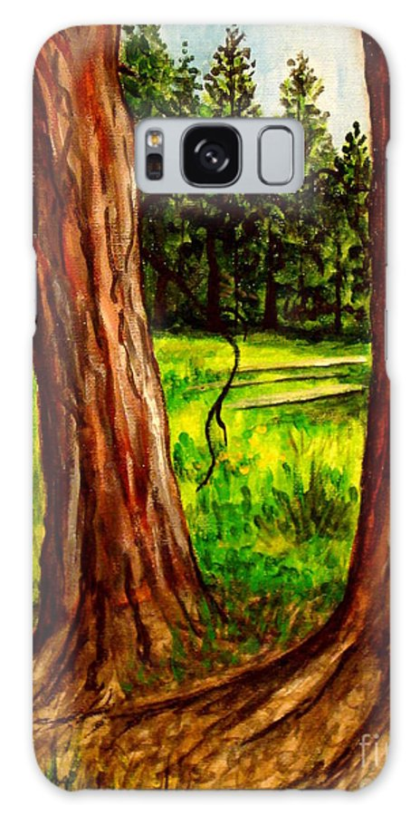 Landscape Galaxy S8 Case featuring the painting Lime Meadow by Elizabeth Robinette Tyndall
