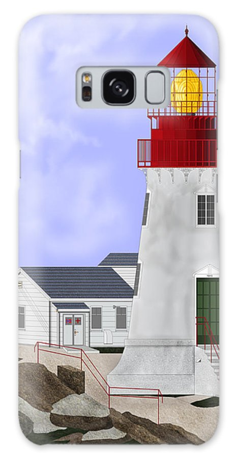 Lighthouse Galaxy S8 Case featuring the painting Lindesnes Norway Lighthouse by Anne Norskog