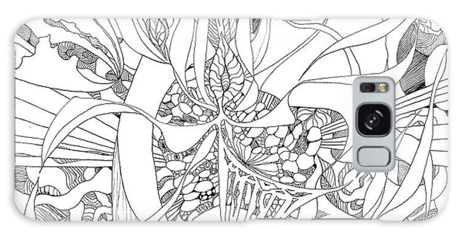 Botanic Botanical Blackandwhite Black And White Zentangle Zen Tangle Abstract Acceptance Circles Comfort Comforting Detailed Drawing Dreams Earth Galaxy S8 Case featuring the painting Mindfulness by Charles Cater