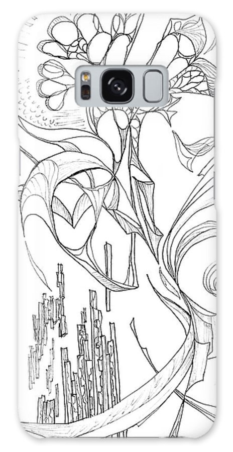 line 3 Botanic Botanical Blackandwhite Black And White Zentangle Zen Tangle Abstract Acceptance Circles Comfort Comforting Detailed Drawing Dreams Earth Galaxy S8 Case featuring the painting Flowing Floating Flora by Charles Cater