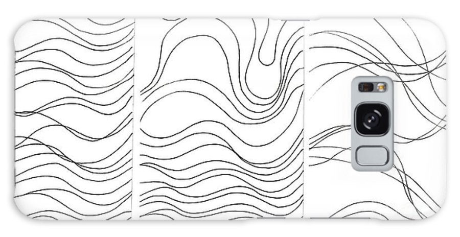 Art Created With Lines Galaxy S8 Case featuring the digital art Lines 1-2-3 Black On White by Helena Tiainen