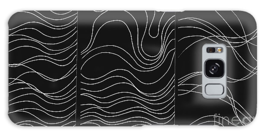 White Lines Galaxy S8 Case featuring the digital art Lines 1-2-3 White On Black by Helena Tiainen