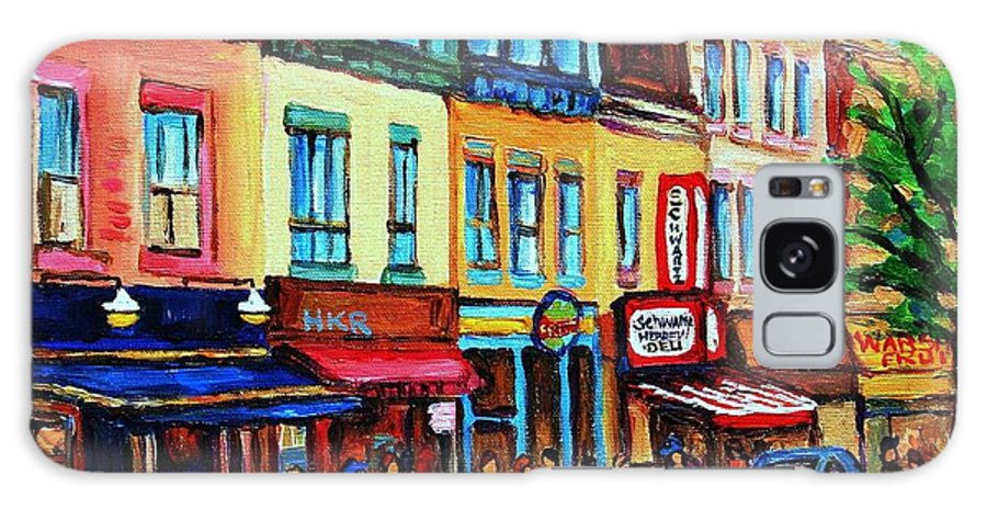 Cityscape Galaxy S8 Case featuring the painting Lineup For Smoked Meat Sandwiches by Carole Spandau