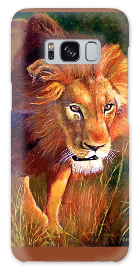 Lion Galaxy Case featuring the painting Lion At Sunset by Michael Durst