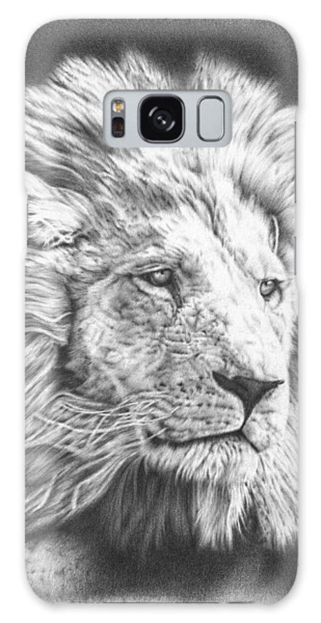 Lion Galaxy S8 Case featuring the drawing Fluffy Lion by Remrov
