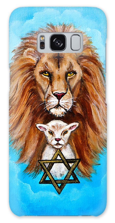 Adoni Galaxy S8 Case featuring the painting Lion Lies Down With A Lamb by Bob and Nadine Johnston