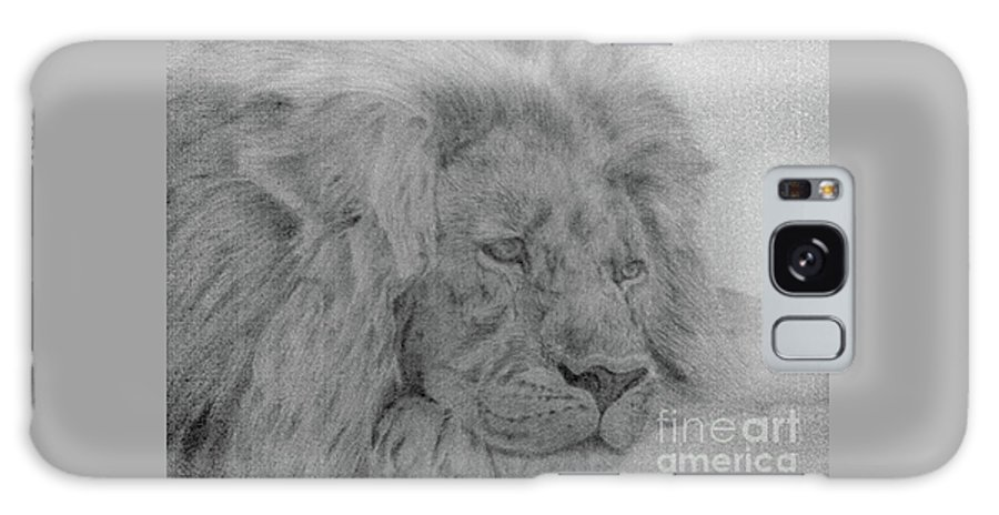 Lion Wild Cat Animals Pencil Paper Galaxy S8 Case featuring the drawing Lion by Nadi Sabirova