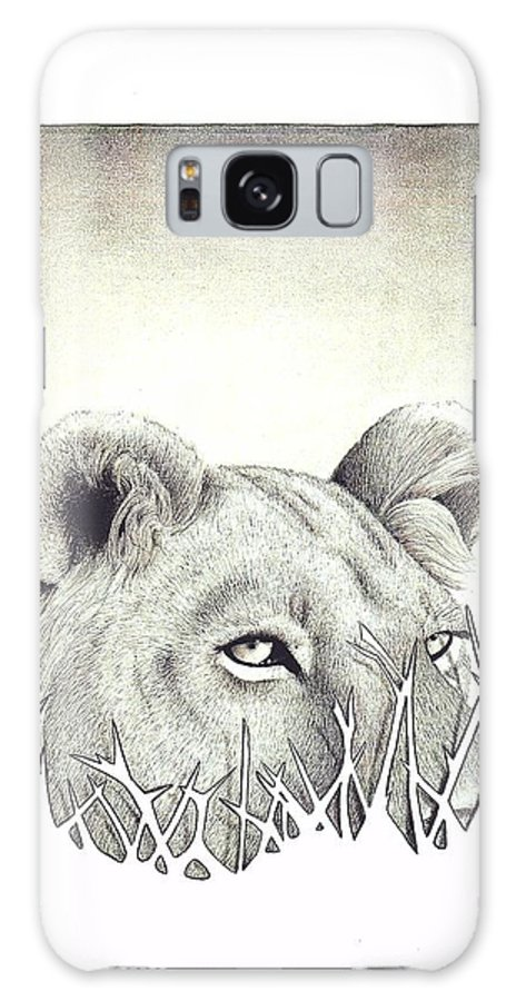Lion Galaxy S8 Case featuring the drawing Lioness Rising by Brandon O'Brien