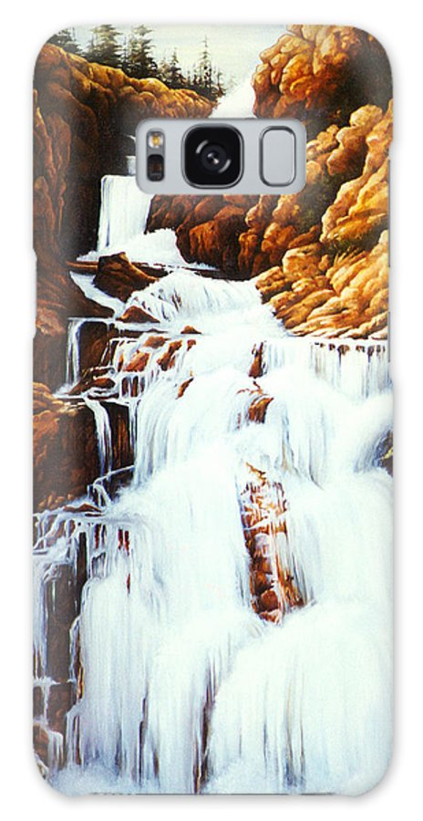 Waterfall Galaxy S8 Case featuring the painting Little Firehole Falls by Teri Rosario