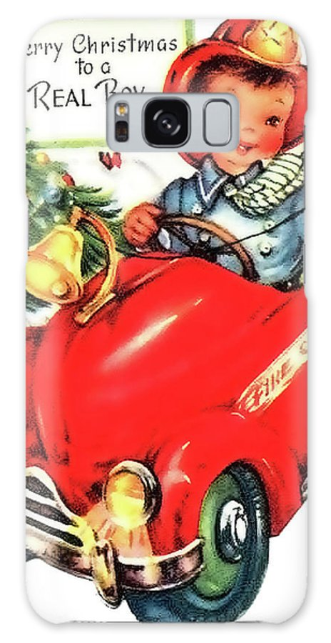 Little Galaxy S8 Case featuring the mixed media Little Fireman Wish You A Merry Christmas by Long Shot