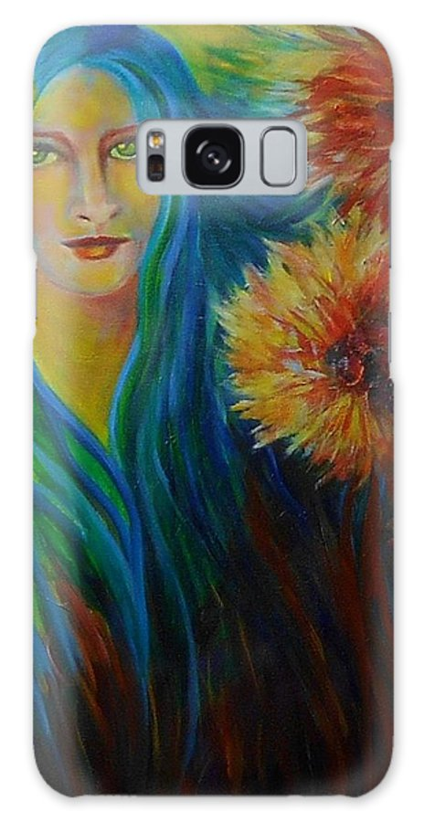 Gardens Galaxy Case featuring the painting Little Flower Girl by Carolyn LeGrand
