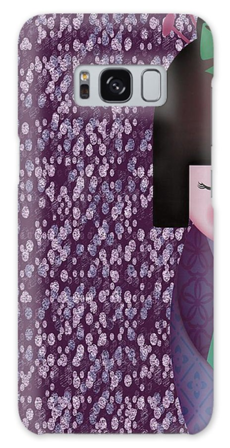 Art Galaxy S8 Case featuring the digital art Little Geisha Purple by Jannina Ortiz