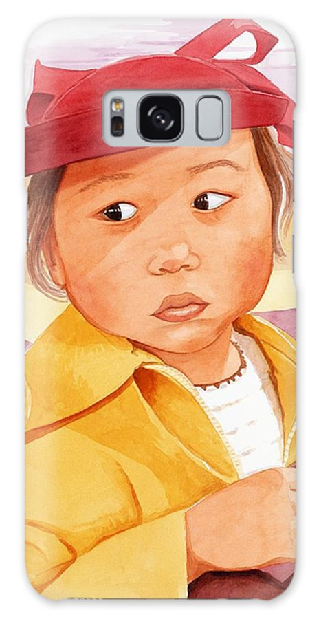 Little Japanese Girl In Red Hat Galaxy Case featuring the painting Little Girl In Red Hat by Judy Swerlick