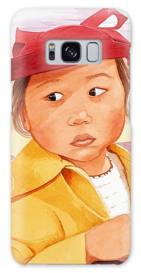 Little Japanese Girl In Red Hat Galaxy S8 Case featuring the painting Little Girl In Red Hat by Judy Swerlick