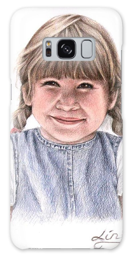 Girl Galaxy S8 Case featuring the drawing Little Girl by Nicole Zeug