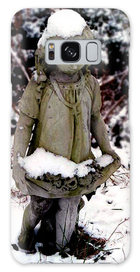 Sculpture Galaxy Case featuring the photograph Little Girl Sculpture In The Snow by Diana Davenport