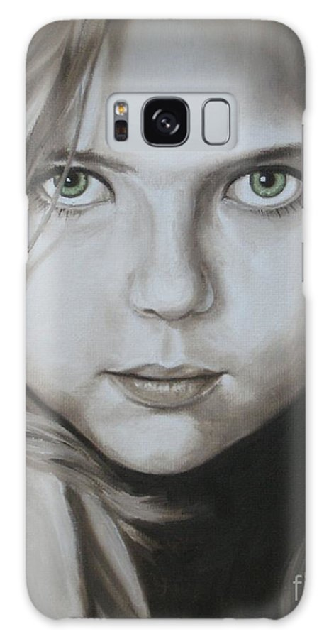 Portrait Galaxy S8 Case featuring the painting Little Girl With Green Eyes by Jindra Noewi