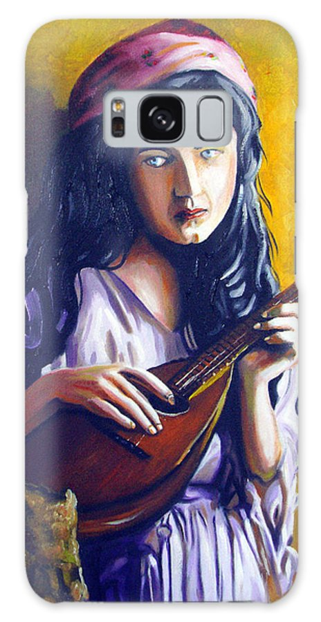 Oil Galaxy Case featuring the painting Little Gypsy by Jose Manuel Abraham