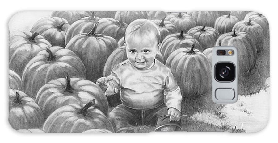 Charity Galaxy S8 Case featuring the drawing Little Pumpkin by Murphy Elliott
