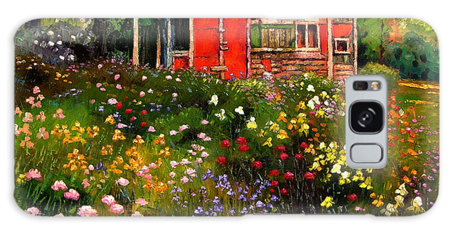 Flower Garden Galaxy Case featuring the painting Little Red Flower Shed by John Lautermilch